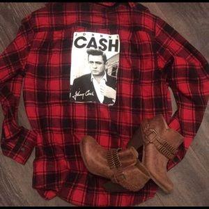 Tops - Johnny cash flannel. Custom made